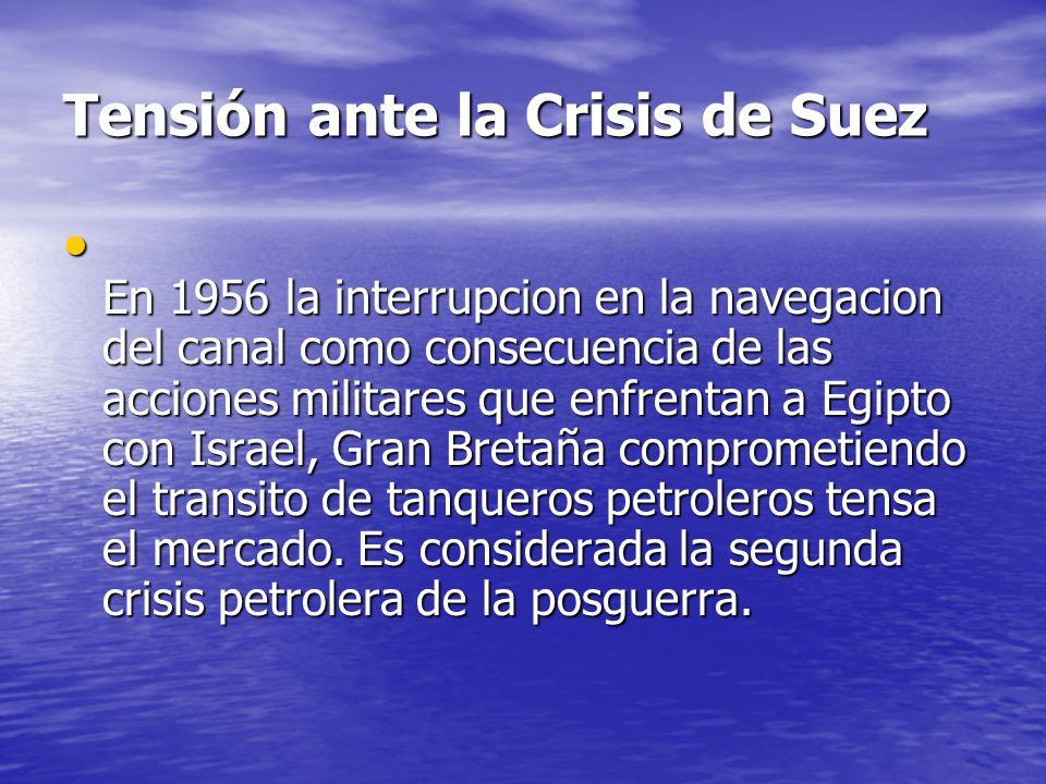 Tensión ante la Crisis de Suez En 1956 la interrupcion en la navegacion del canal como consecuencia de las acciones militares que enfrentan a Egipto c