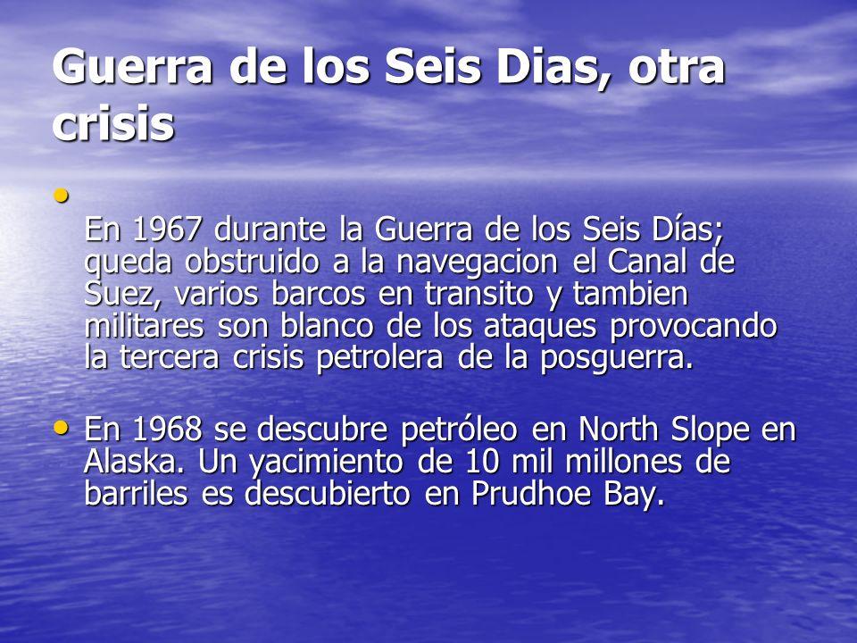 Guerra de los Seis Dias, otra crisis En 1967 durante la Guerra de los Seis Días; queda obstruido a la navegacion el Canal de Suez, varios barcos en tr