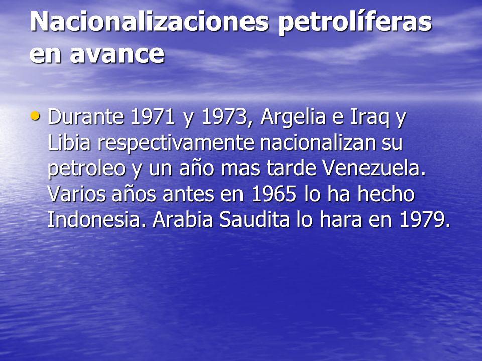 Nacionalizaciones petrolíferas en avance Durante 1971 y 1973, Argelia e Iraq y Libia respectivamente nacionalizan su petroleo y un año mas tarde Venez