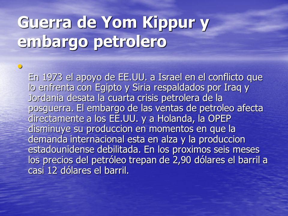 Guerra de Yom Kippur y embargo petrolero En 1973 el apoyo de EE.UU. a Israel en el conflicto que lo enfrenta con Egipto y Siria respaldados por Iraq y