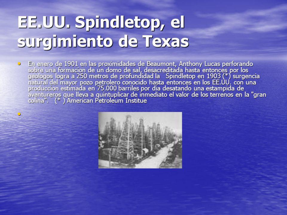 EE.UU. Spindletop, el surgimiento de Texas En enero de 1901 en las proximidades de Beaumont, Anthony Lucas perforando sobre una formacion de un domo d