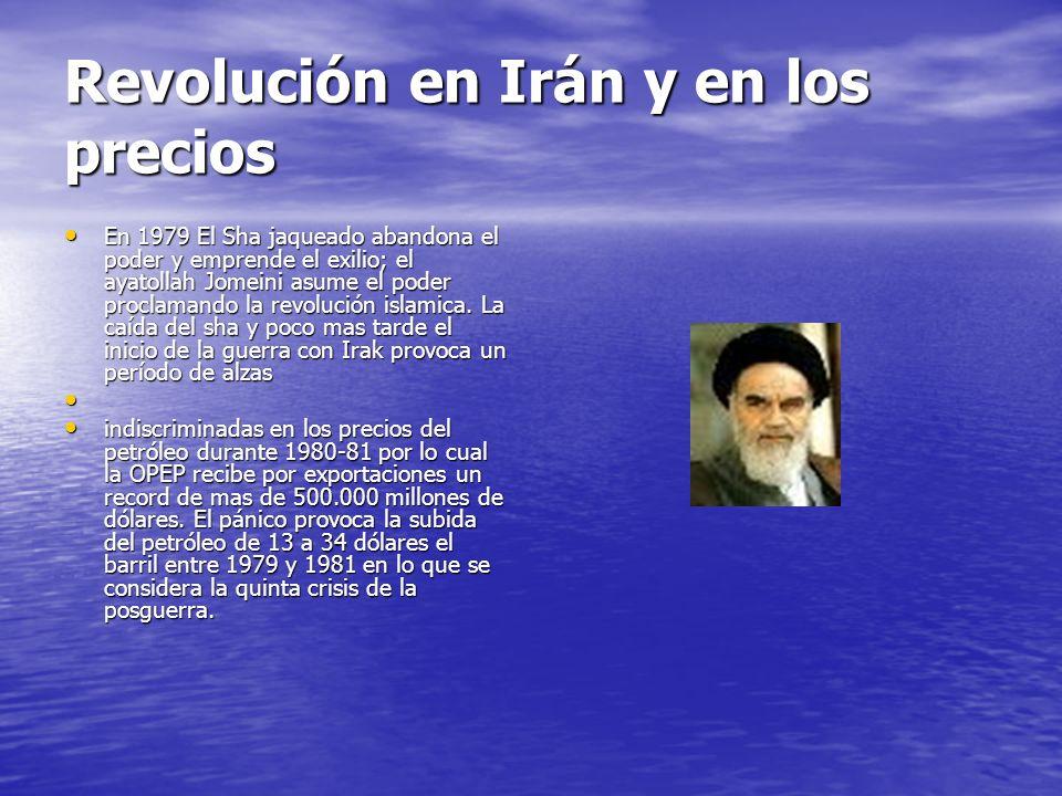Revolución en Irán y en los precios En 1979 El Sha jaqueado abandona el poder y emprende el exilio; el ayatollah Jomeini asume el poder proclamando la