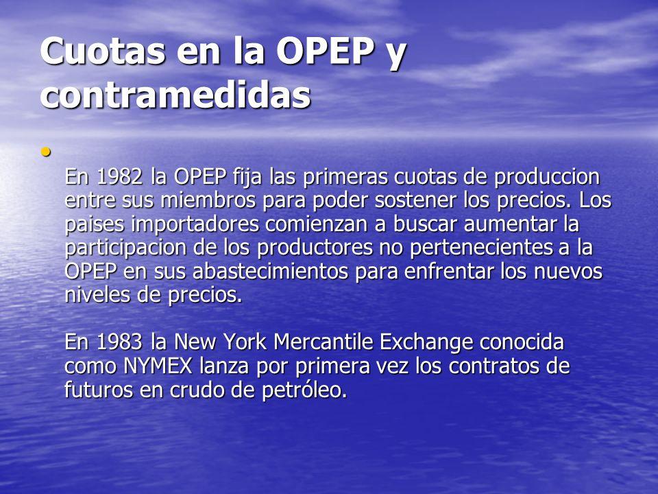 Cuotas en la OPEP y contramedidas En 1982 la OPEP fija las primeras cuotas de produccion entre sus miembros para poder sostener los precios. Los paise