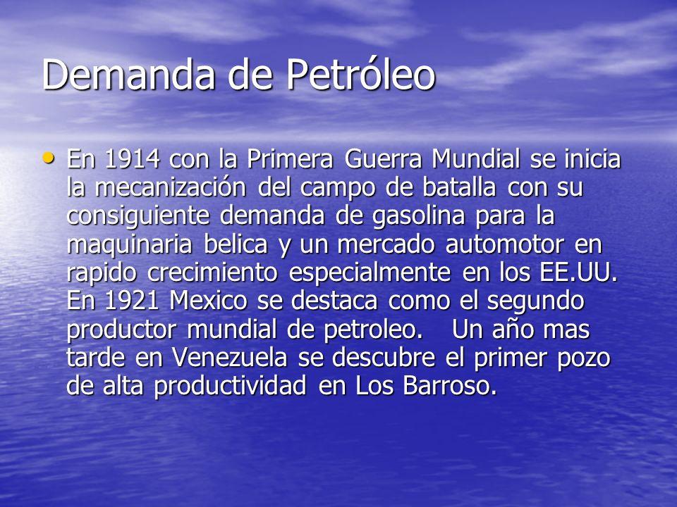 Demanda de Petróleo En 1914 con la Primera Guerra Mundial se inicia la mecanización del campo de batalla con su consiguiente demanda de gasolina para
