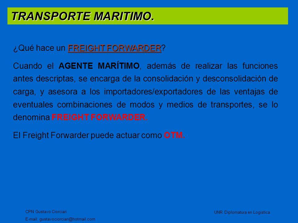 TRANSPORTE MARITIMO. CPN Gustavo Ciorciari E-mail: gustavociorciari@hotmail.com UNR Diplomatura en Logistica FREIGHT FORWARDER ¿Qué hace un FREIGHT FO