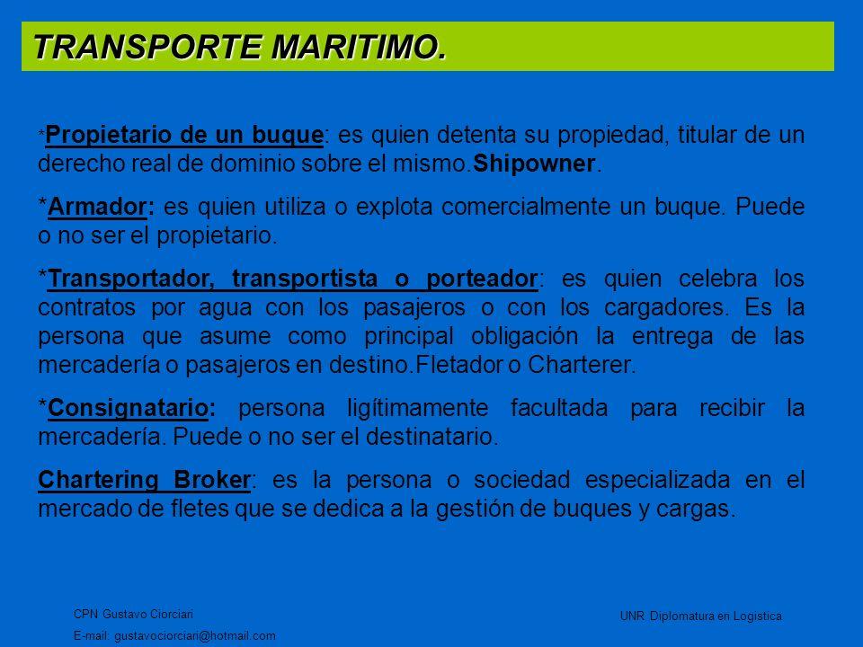 TRANSPORTE MARITIMO. CPN Gustavo Ciorciari E-mail: gustavociorciari@hotmail.com UNR Diplomatura en Logistica * Propietario de un buque: es quien deten