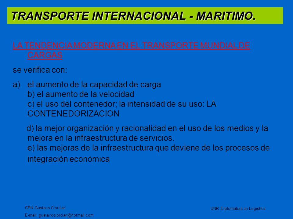 TRANSPORTE INTERNACIONAL - MARITIMO. CPN Gustavo Ciorciari E-mail: gustavociorciari@hotmail.com UNR Diplomatura en Logistica LA TENDENCIA MODERNA EN E