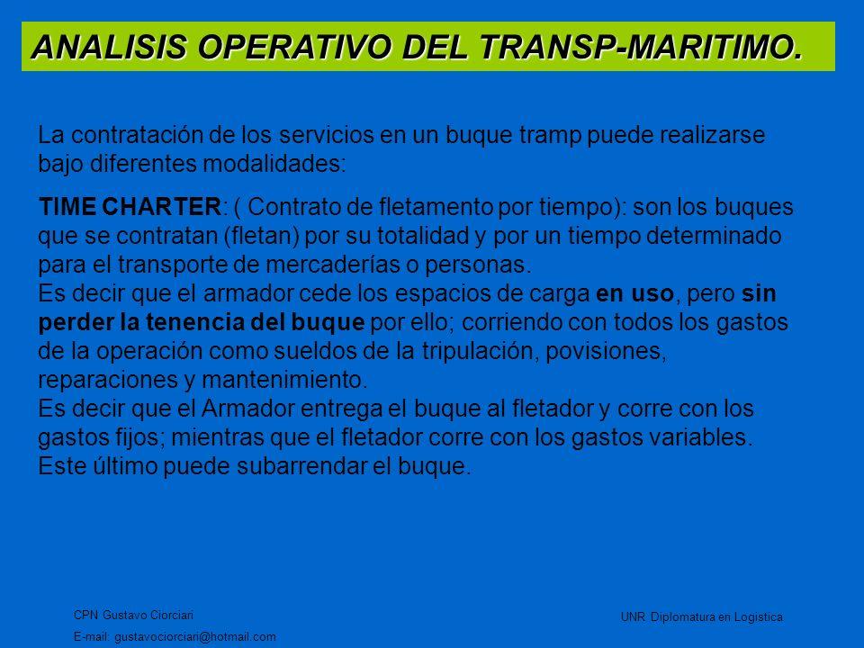 ANALISIS OPERATIVO DEL TRANSP-MARITIMO. CPN Gustavo Ciorciari E-mail: gustavociorciari@hotmail.com UNR Diplomatura en Logistica La contratación de los