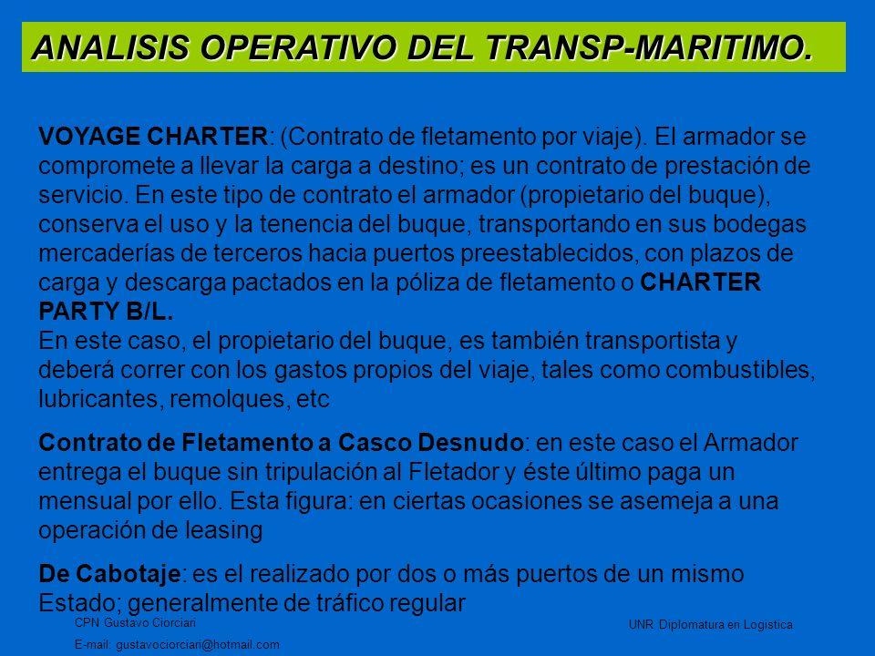 ANALISIS OPERATIVO DEL TRANSP-MARITIMO. CPN Gustavo Ciorciari E-mail: gustavociorciari@hotmail.com UNR Diplomatura en Logistica VOYAGE CHARTER: (Contr