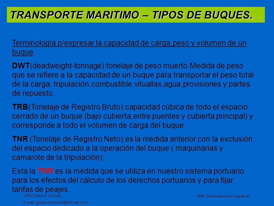 TRANSPORTE MARITIMO – TIPOS DE BUQUES. CPN Gustavo Ciorciari E-mail: gustavociorciari@hotmail.com UNR Diplomatura en Logistical Terminología p/expresa