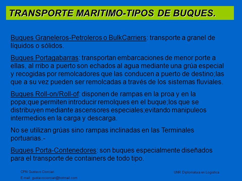 TRANSPORTE MARITIMO-TIPOS DE BUQUES. CPN Gustavo Ciorciari E-mail: gustavociorciari@hotmail.com UNR Diplomatura en Logistica Buques Graneleros-Petrole