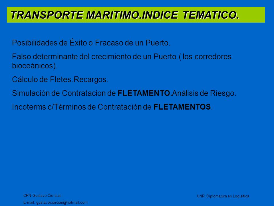 TRANSPORTE INTERNACIONAL – MARITIMO.