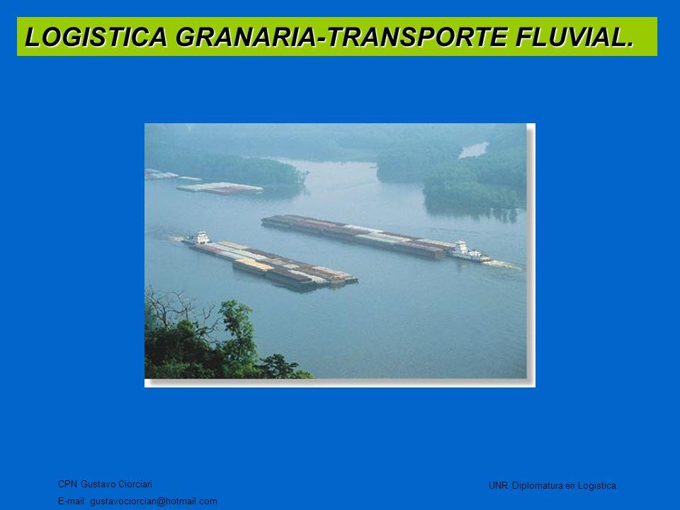 LOGISTICA GRANARIA-TRANSPORTE FLUVIAL. CPN Gustavo Ciorciari E-mail: gustavociorciari@hotmail.com UNR Diplomatura en Logistica