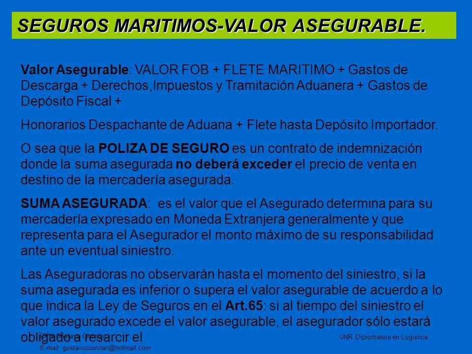 SEGUROS MARITIMOS-VALOR ASEGURABLE. CPN Gustavo Ciorciari E-mail: gustavociorciari@hotmail.com UNR Diplomatura en Logistica Valor Asegurable: VALOR FO