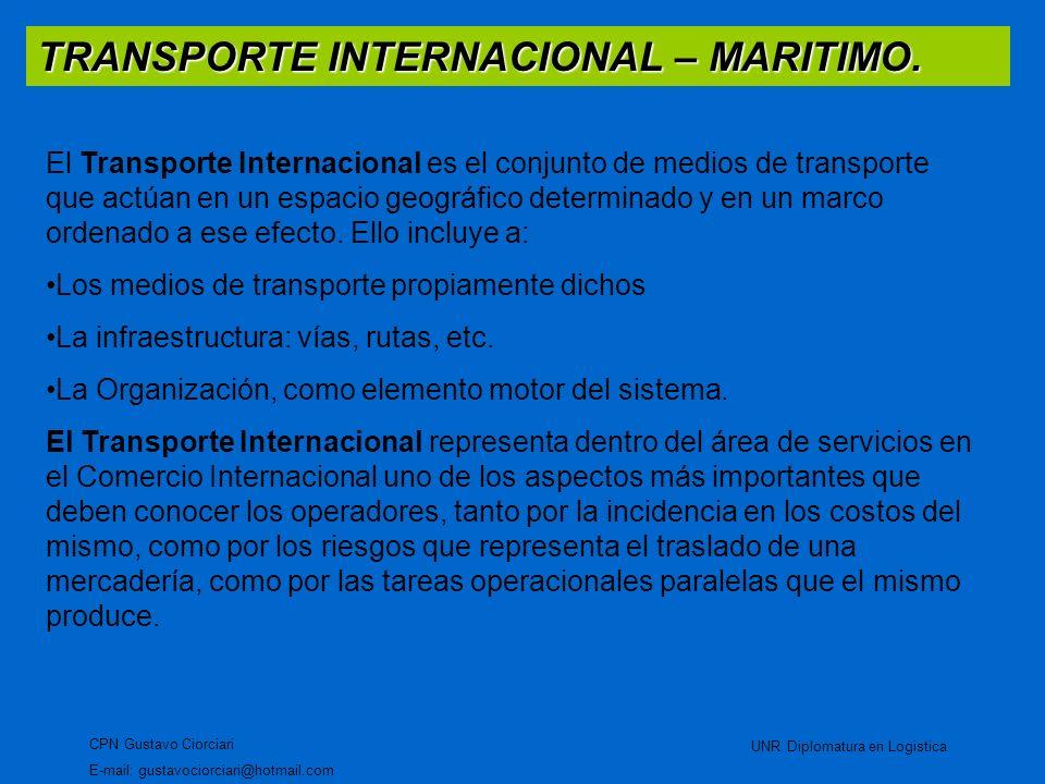 TRANSPORTE INTERNACIONAL – MARITIMO. CPN Gustavo Ciorciari E-mail: gustavociorciari@hotmail.com UNR Diplomatura en Logistica El Transporte Internacion