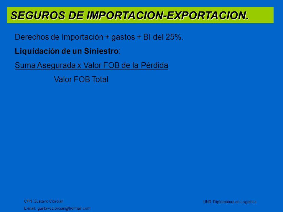 SEGUROS DE IMPORTACION-EXPORTACION. CPN Gustavo Ciorciari E-mail: gustavociorciari@hotmail.com UNR Diplomatura en Logistica Derechos de Importación +