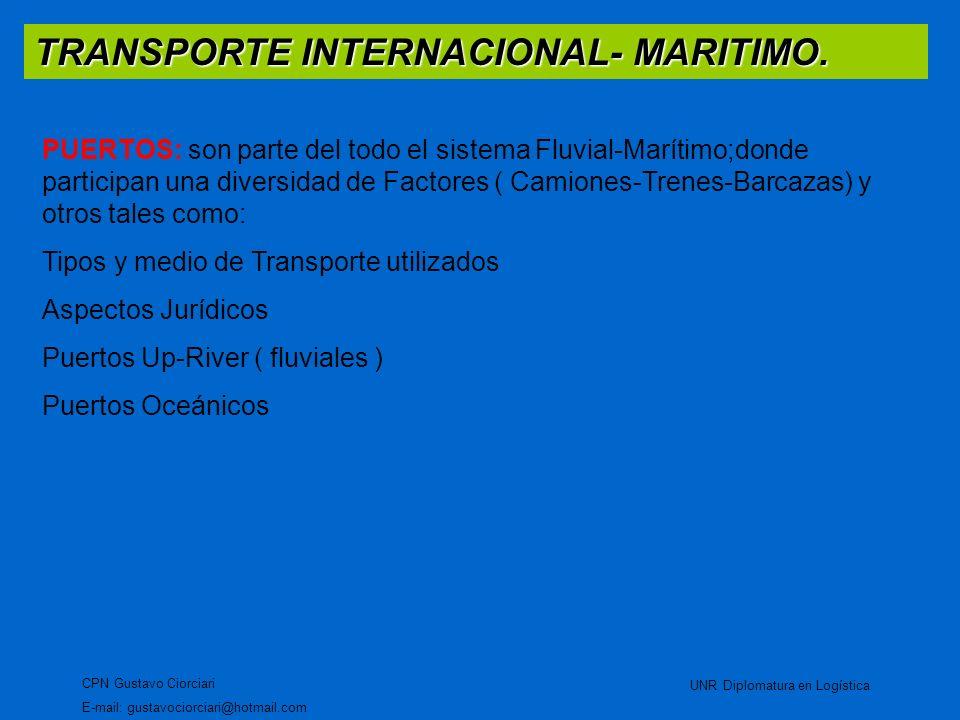 TRANSPORTE INTERNACIONAL- MARITIMO. CPN Gustavo Ciorciari E-mail: gustavociorciari@hotmail.com UNR Diplomatura en Logística PUERTOS: son parte del tod