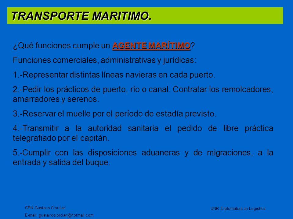 TRANSPORTE MARITIMO. CPN Gustavo Ciorciari E-mail: gustavociorciari@hotmail.com UNR Diplomatura en Logistica AGENTE MARÍTIMO ¿Qué funciones cumple un