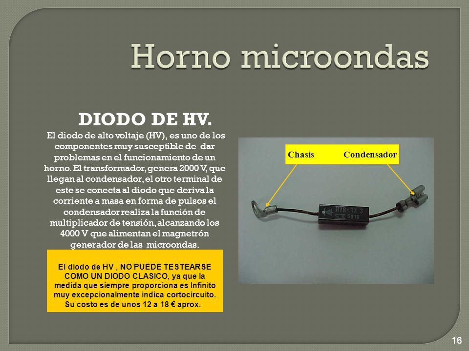 DIODO DE HV. El diodo de alto voltaje (HV), es uno de los componentes muy susceptible de dar problemas en el funcionamiento de un horno. El transforma