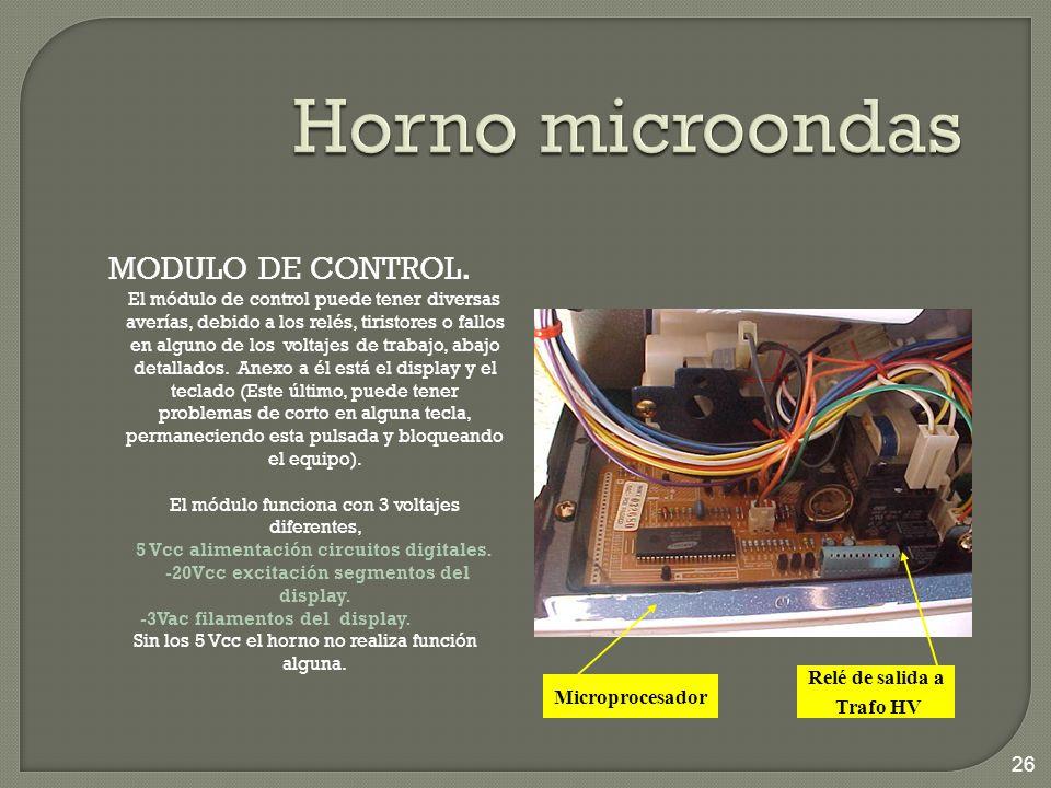 MODULO DE CONTROL. El módulo de control puede tener diversas averías, debido a los relés, tiristores o fallos en alguno de los voltajes de trabajo, ab