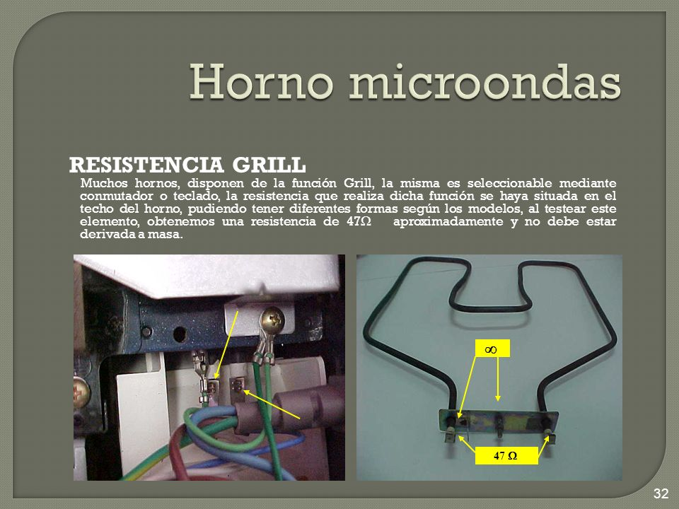 RESISTENCIA GRILL Muchos hornos, disponen de la función Grill, la misma es seleccionable mediante conmutador o teclado, la resistencia que realiza dic