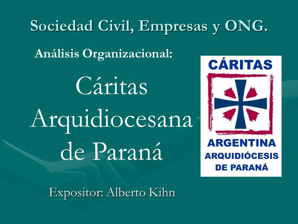 Sociedad Civil, Empresas y ONG. Expositor: Alberto Kihn Cáritas Arquidiocesana de Paraná Análisis Organizacional: