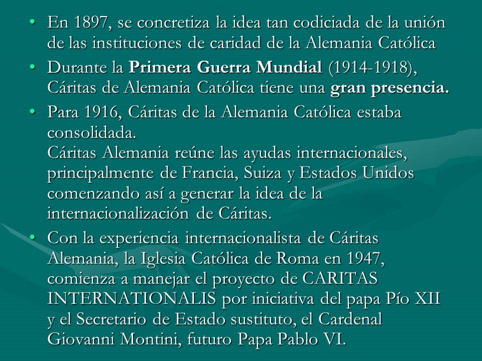 En 1897, se concretiza la idea tan codiciada de la unión de las instituciones de caridad de la Alemania CatólicaEn 1897, se concretiza la idea tan cod