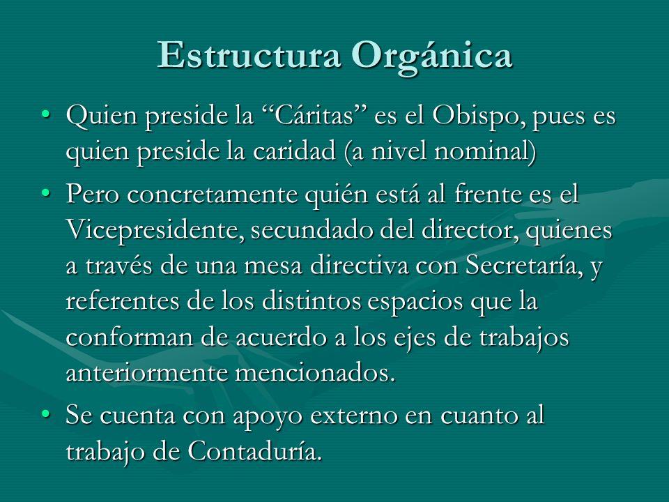Estructura Orgánica Quien preside la Cáritas es el Obispo, pues es quien preside la caridad (a nivel nominal)Quien preside la Cáritas es el Obispo, pu