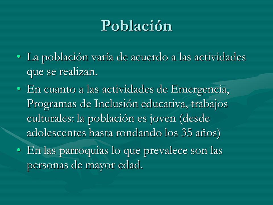 Población La población varía de acuerdo a las actividades que se realizan.La población varía de acuerdo a las actividades que se realizan. En cuanto a
