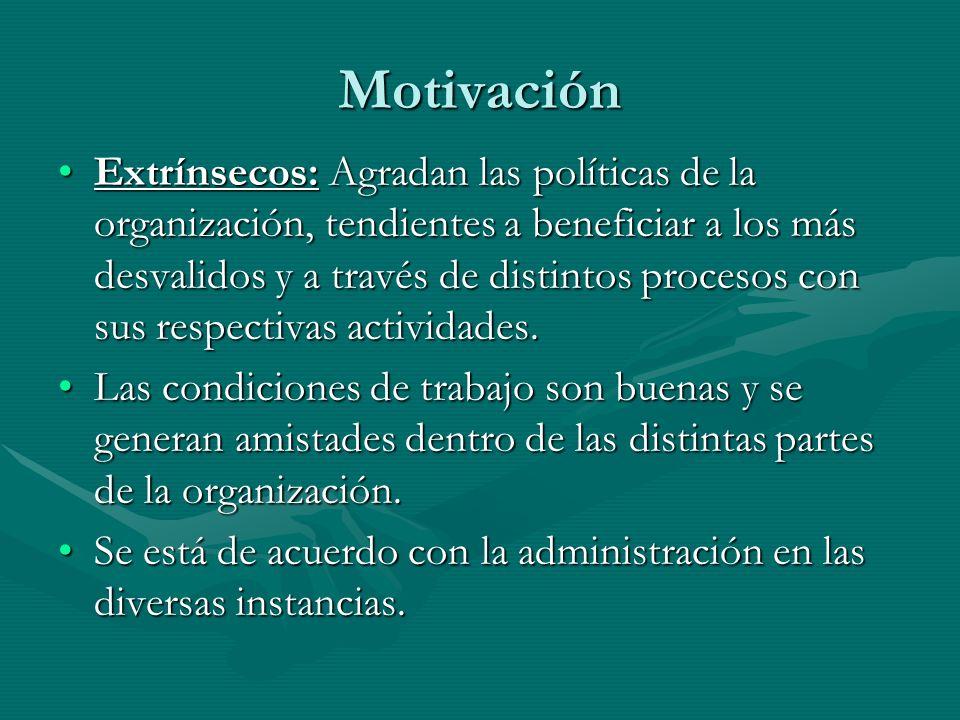 Motivación Extrínsecos: Agradan las políticas de la organización, tendientes a beneficiar a los más desvalidos y a través de distintos procesos con su