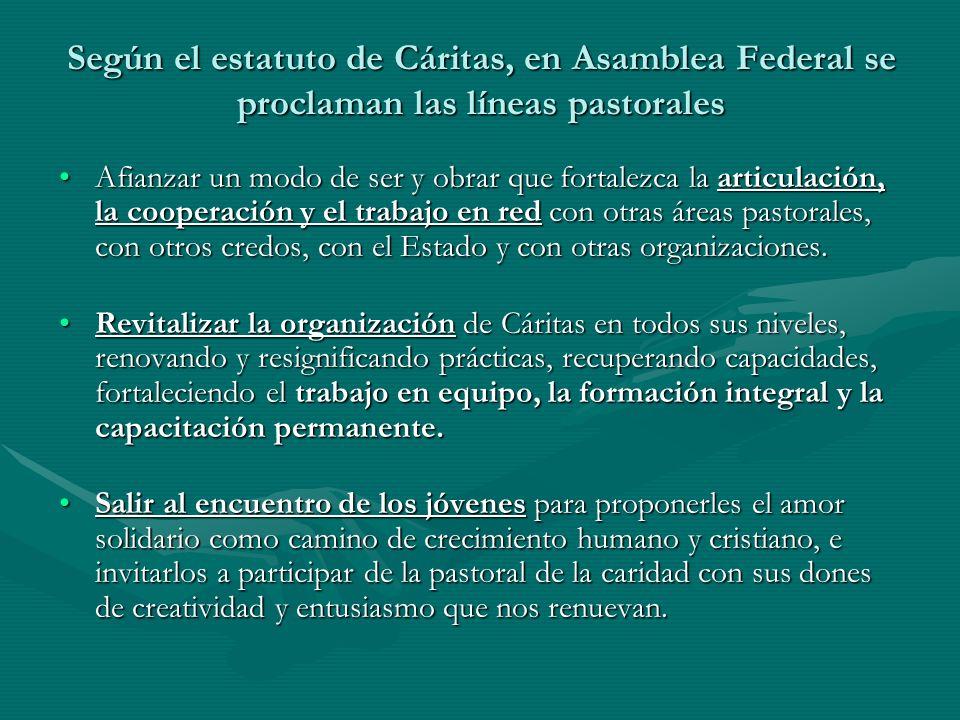 Según el estatuto de Cáritas, en Asamblea Federal se proclaman las líneas pastorales Afianzar un modo de ser y obrar que fortalezca la articulación, l