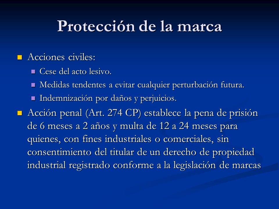 Protección de la marca Acciones civiles: Acciones civiles: Cese del acto lesivo. Cese del acto lesivo. Medidas tendentes a evitar cualquier perturbaci