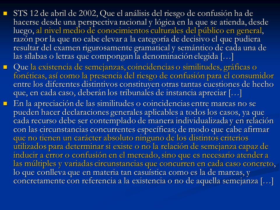 STS 12 de abril de 2002, Que el análisis del riesgo de confusión ha de hacerse desde una perspectiva racional y lógica en la que se atienda, desde lue