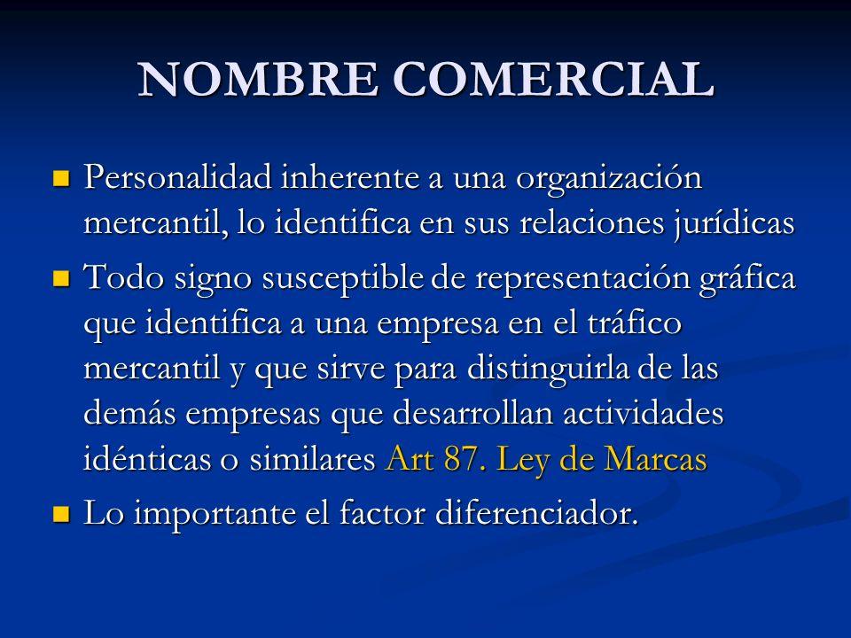 NOMBRE COMERCIAL Personalidad inherente a una organización mercantil, lo identifica en sus relaciones jurídicas Todo signo susceptible de representaci