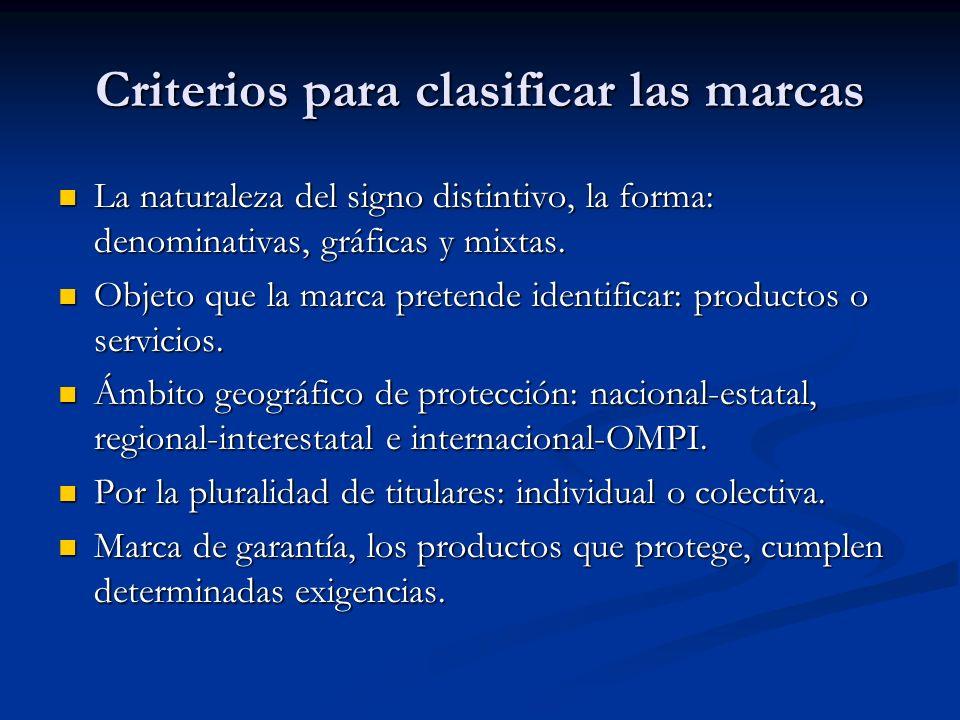 Criterios para clasificar las marcas La naturaleza del signo distintivo, la forma: denominativas, gráficas y mixtas. Objeto que la marca pretende iden