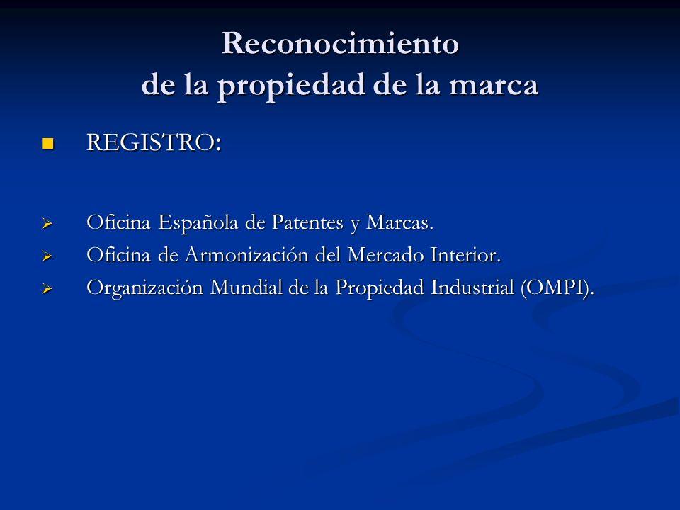 Reconocimiento de la propiedad de la marca REGISTRO: Oficina Española de Patentes y Marcas. Oficina de Armonización del Mercado Interior. Organización