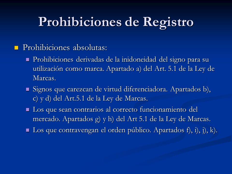 Prohibiciones de Registro Prohibiciones absolutas: Prohibiciones absolutas: Prohibiciones derivadas de la inidoneidad del signo para su utilización co