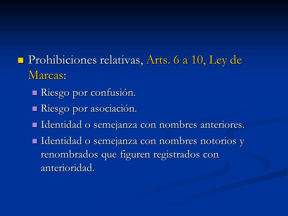 Prohibiciones relativas, Arts. 6 a 10, Ley de Marcas: Prohibiciones relativas, Arts. 6 a 10, Ley de Marcas: Riesgo por confusión. Riesgo por confusión