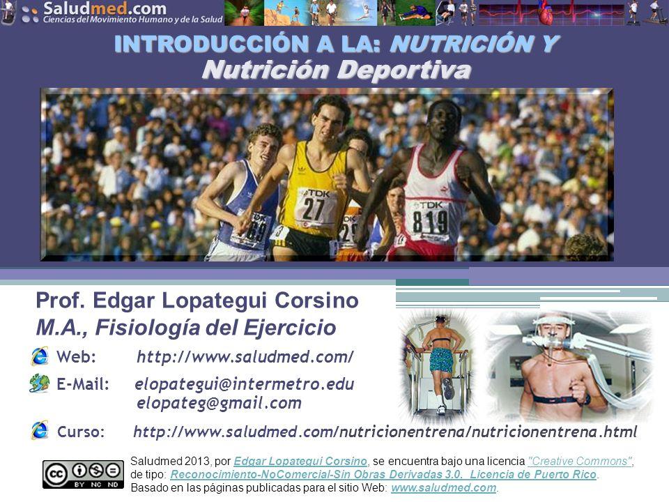 Copyright © 2013 Edgar Lopategui Corsino   Saludmed NOTA: Adaptado de: Sports and Fitness Nutrition.