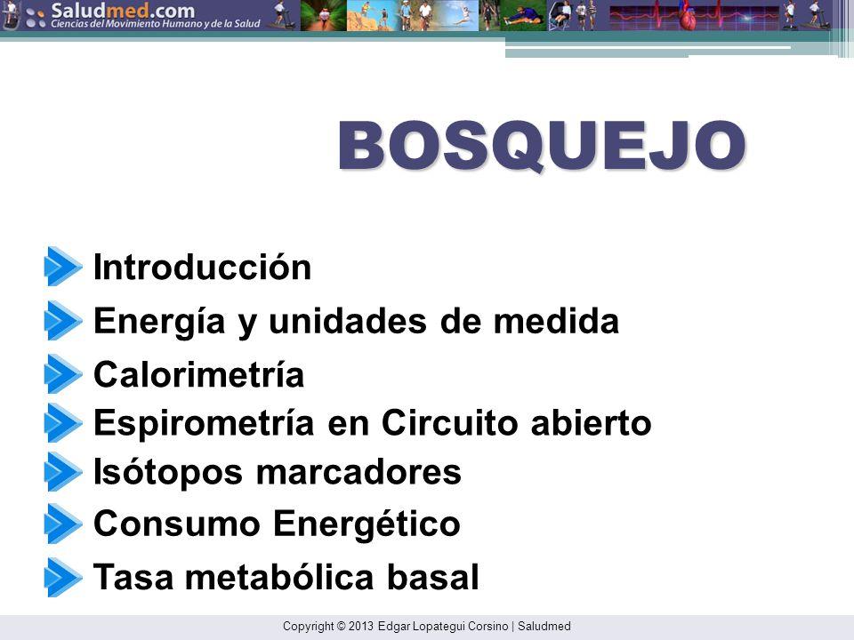 Copyright © 2013 Edgar Lopategui Corsino | Saludmed BOSQUEJO Introducción Energía y unidades de medida Calorimetría Espirometría en Circuito abierto E
