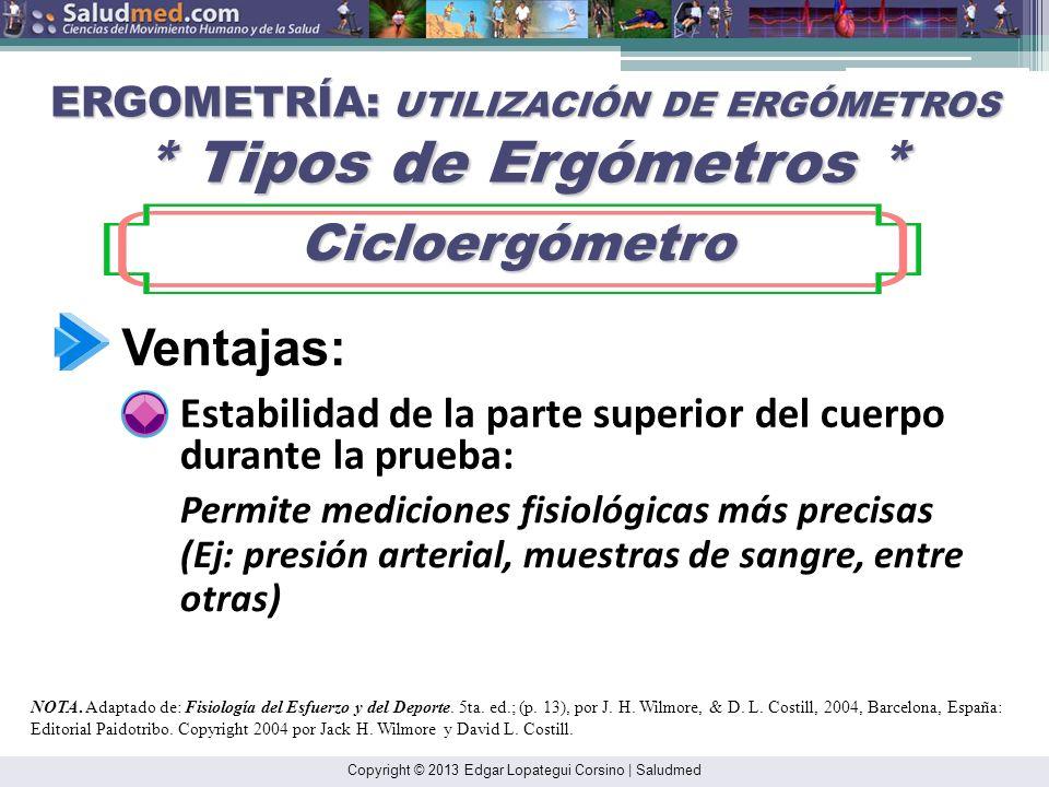 Copyright © 2013 Edgar Lopategui Corsino | Saludmed ERGOMETRÍA: UTILIZACIÓN DE ERGÓMETROS * Tipos de Ergómetros * Cicloergómetro Cicloergómetro Tipos