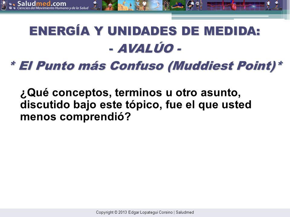 Copyright © 2013 Edgar Lopategui Corsino | Saludmed ERGOMETRÍA: AVALÚO * El Punto más Confuso (Muddiest Point)* 1.¿Qué conceptos, terminos u otro asun