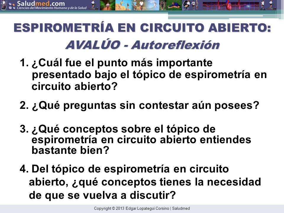 Copyright © 2013 Edgar Lopategui Corsino | Saludmed 1.¿Qué conceptos sobre el tópico de espirometría en circuito abierto no se encuentra claro? 2.¿Qué
