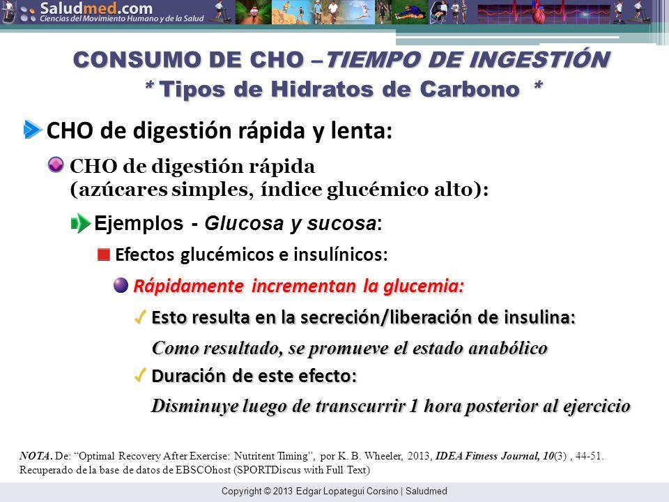 Copyright © 2013 Edgar Lopategui Corsino   Saludmed CONSUMO DE CHO –TIEMPO DE INGESTIÓN * Tipos de Hidratos de Carbono * NOTA.