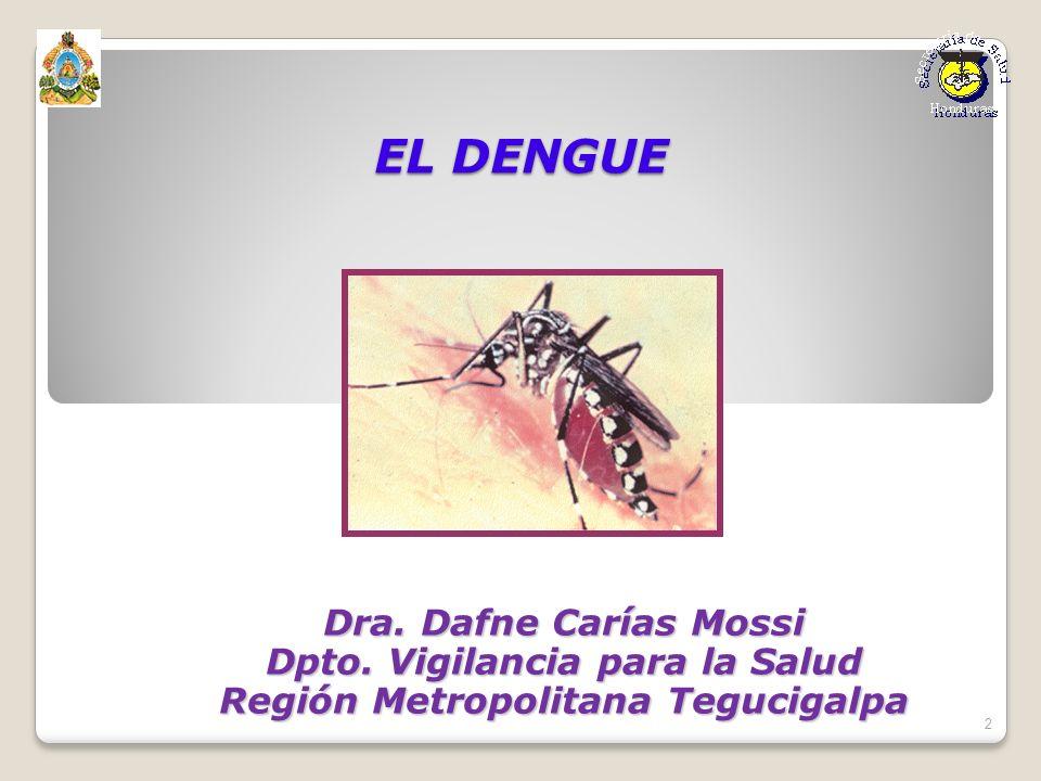 EL DENGUE Dra. Dafne Carías Mossi Dpto. Vigilancia para la Salud Región Metropolitana Tegucigalpa 2