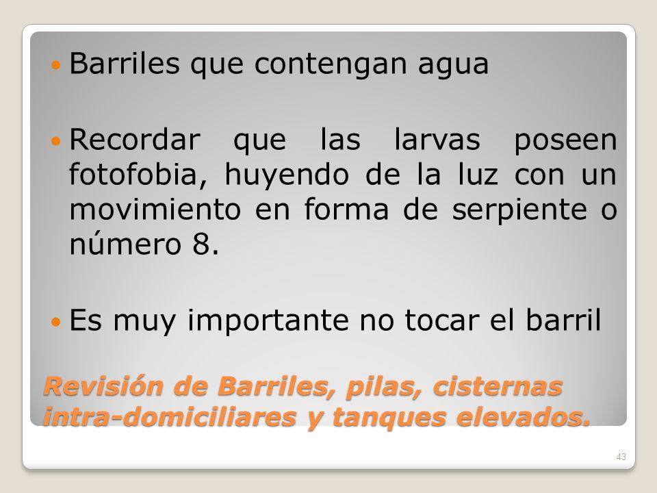Revisión de Barriles, pilas, cisternas intra-domiciliares y tanques elevados.