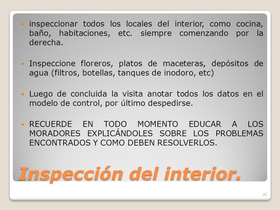 Inspección del interior.