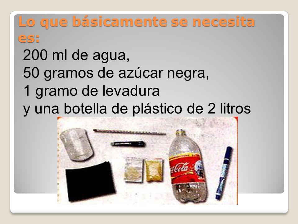 Lo que básicamente se necesita es: 200 ml de agua, 50 gramos de azúcar negra, 1 gramo de levadura y una botella de plástico de 2 litros