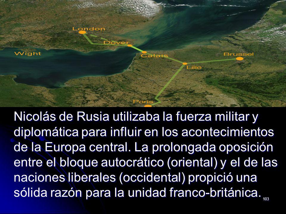 103 Nicolás de Rusia utilizaba la fuerza militar y diplomática para influir en los acontecimientos de la Europa central. La prolongada oposición entre