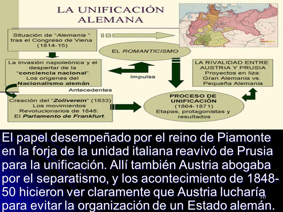 117 El papel desempeñado por el reino de Piamonte en la forja de la unidad italiana reavivó de Prusia para la unificación. Allí también Austria abogab